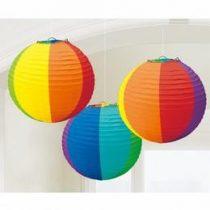 Lampion gömb 24cm 3db vegyes színű
