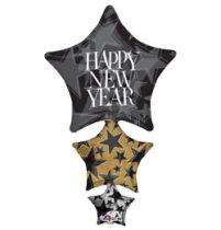 """Óriás fólia lufi 42"""" 107cm Happy New Year szilveszteri lufi, héliummal töltve"""