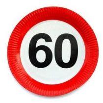 Papírtányér sebességkorlátozó 60-as számmal 23cm 6db, 20703