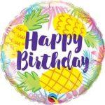 """Szülinapi fólia lufi 18"""" 45cm Happy Birthday, ananas, ananász, 57268, héliummal töltve"""