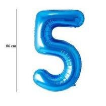 """Számos lufi 34"""" 86cm óriás kék fólia szám 5, Héliummal töltve, 30531"""