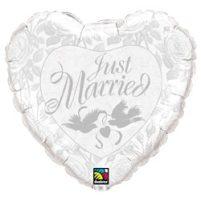 """Esküvői fólia lufi 18"""" 45cm Just Married, szív, 14253, héliummal töltve"""