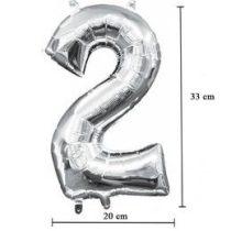 """Számos lufi 16"""" (40cm) fólia szám, számjegy 2 levegővel tölthető, ezüst, 3307001"""
