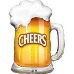 "Óriás fólia lufi 35"" 89cm  sörös korsó, cheers, 23488, héliummal töltve"