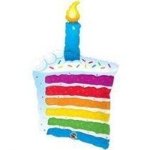 """Szülinapi lufi 42"""" 106cm óriás fólia Happy Birthday, torta, tortaszelet, cake, 49379, héliummal töltve"""