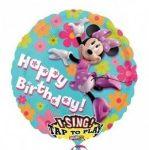 """Éneklő, zenélő lufi 28"""" (71cm) Happy Birthday, Minnie Mouse Héliummal töltött, 2349301"""