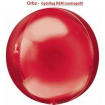 """Egyszínű fólia gömb lufi 16"""" 40cm piros Orbz, 2820399, héliummal töltve"""