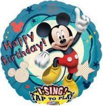 """Éneklő, zenélő lufi 28"""" (71cm) Happy Birthday, Mickey Mouse Héliummal töltött, 2349101"""