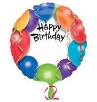 """Szülinapi fólia lufi 18"""" 45cm Happy Birthday, feliratozható, 1579101, héliummal töltve"""