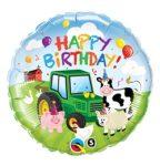 """Szülinapi fólia lufi 18"""" 45cm Happy Birthday farm, 29612, héliummal töltve"""