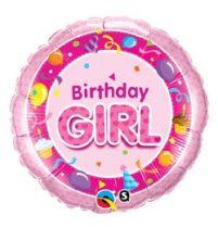 """Szülinapi fólia lufi 18"""" 45cm Birthday Girl, 26273, héliummal töltve"""