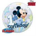 """Mintás Bubbles számos, szám lufi 22"""" 56cm Mickey Mouse 1 Birthday Héliummal töltve, 12864"""