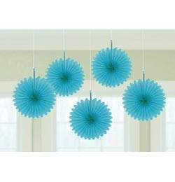 Függő dekoráció, legyező 15,2cm 5db, kék