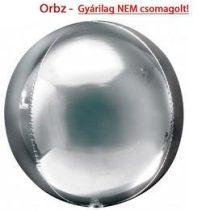 """Egyszínű fólia gömb lufi 16"""" 40cm ezüst Orbz, 2820199, héliummal töltve"""