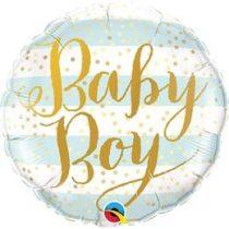 """Fólia lufi babaszületésre 18"""" 45cm - Baby boy, 88001, héliummal töltve"""