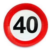 Papírtányér sebességkorlátozó 40-es számmal 23cm 6db, 20680