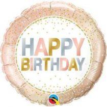 """Szülinapi fólia lufi 18"""" 45cm Happy Birthday, 785686, héliummal töltve"""