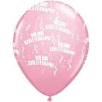 """Szülinapi latex lufi 11"""" 28cm 6db Boldog születésnapot! rózsaszín, q48008-3rp"""