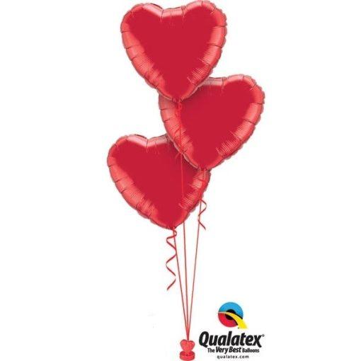 Héliumos luficsokor 3db lufi, szerelem, szív, Valentin nap - INGYENES KISZÁLLÍTÁSSAL