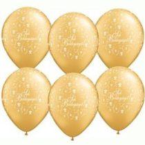 """Esküvői latex lufi 11"""" 28cm arany, gold Sok boldogságot!, 606359bont"""