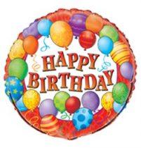 """Szülinapi fólia lufi 18"""" 45cm Happy Birthday, 23621, héliummal töltve"""