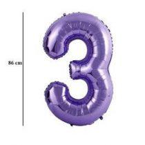 """Számos lufi 34"""" 86cm óriás lila fólia szám, számjegy 3-as, Héliummal töltve"""