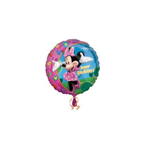 """Szülinapi fólia lufi 18"""" 45cm Happy Birthday, Minnie Mouse , 1779701, héliummal töltve"""