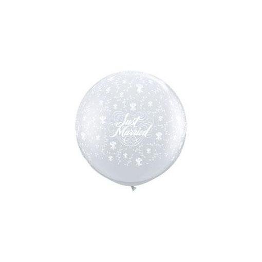 3 feet 91cm átlátszó esküvői latex léggömb Just Married, Diamond Clear, kristálytiszta