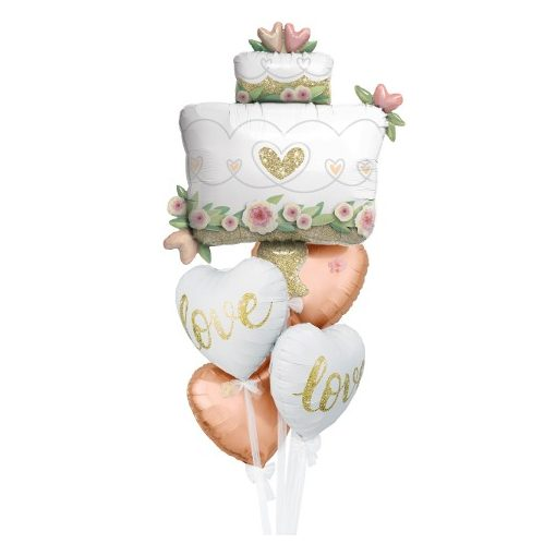 Héliumos luficsokor esküvőre, szív és torta - INGYENES KISZÁLLÍTÁSSAL