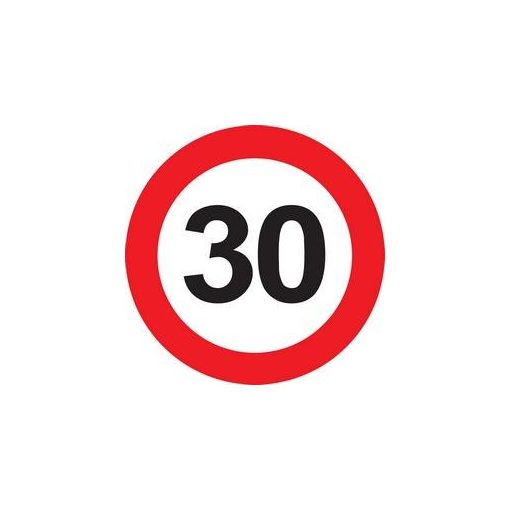Tábla sebességkorlátozó számmal 40cm 30-as számmal, 32384