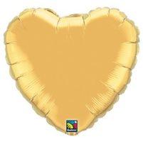 """Egyszínű szív fólia lufi 18"""" 45cm Gold, arany szív, 99597, héliummal töltve"""