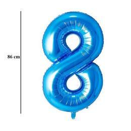 """Számos lufi 34"""" 86cm óriás kék fólia szám 8, Héliummal töltve, 30543"""
