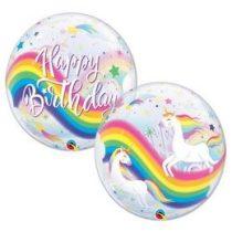 """Szülinapi Bubbles lufi 22"""" 56cm Héliummal töltve Happy Birthday, Unicor, Unikornis, 87744"""
