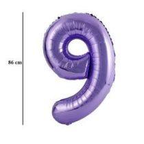"""Számos lufi 34"""" 86cm óriás lila fólia szám, számjegy 9-es, Héliummal töltve"""