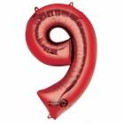 """Számos lufi 34"""" 86cm óriás piros fólia szám, számjegy 9-es Héliummal töltve"""