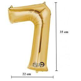 """Számos lufi 16"""" (40cm) fólia szám, számjegy 7 levegővel tölthető, arany, 3308901"""
