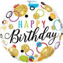 """Szülinapi fólia lufi 18"""" 45cm Happy Birthday, 57292, héliummal töltve"""