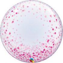 """Deco Bubble lufi 24"""" 61cm krisztálytiszta, átlátszó, pink konfetti mintával, Héliummal töltve, 57790"""