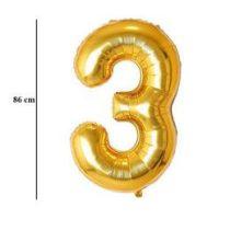 """Számos lufi 34"""" 86cm óriás arany fólia szám, számjegy 3-s Héliummal töltve, 2824801"""