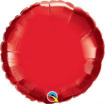 """Egyszínű kerek fólia lufi 18"""" 45cm piros, 1058018108R-P, héliummal töltve"""