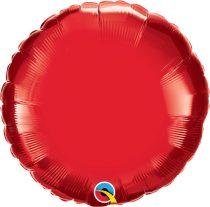 """Egyszínű kerek fólia lufi 18"""" 45cm piros, 99582, héliummal töltve"""