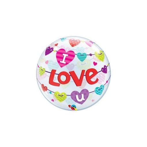 """Bubbles lufi 22"""" 56cm Héliummal töltve """"I love you"""", 46047"""
