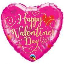 """Fólia lufi 18"""" 45cm """"Happy Valentines Day """" szív, 54838, héliummal töltve"""