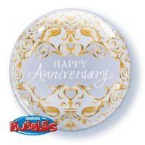 """Évfordulós Bubbles lufi 22"""" 56cm Happy Anniversary, 16660, Héliummal töltve"""