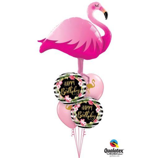 Héliumos luficsokor szülinapra, flamingo, flamingó, hibiscus, Happy Birthday - INGYENES KISZÁLLÍTÁSSAL