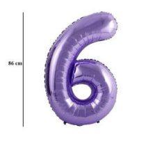 """Számos lufi 34"""" 86cm óriás lila fólia szám, számjegy 6-os, Héliummal töltve"""