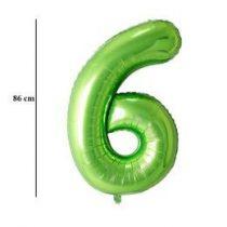 """Számos lufi 34"""" 86cm óriás zöld fólia szám, számjegy 6-os, Héliummal töltve"""