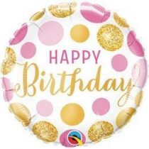 """Szülinapi fólia lufi 18"""" 45cm Happy Birthday, 49164, héliummal töltve"""