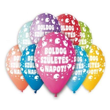 """Szülinapi Latex lufi (gumi) 11"""" 10db/csomag Boldog Születésnapot - 11-printBSZII"""