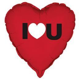"""Fólia lufi 18"""" 45cm """"I love you"""" szív, 62620, héliummal töltve"""
